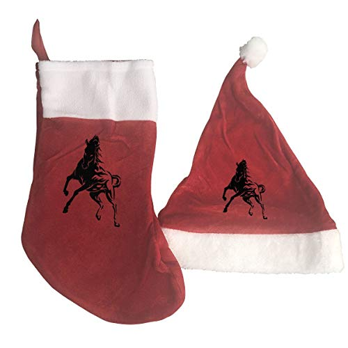 (YOOJPC-6 Christmas Stockings and Santa Hat with Wild Horse Flames Tribal Design Gift/Treat Bags Xmas Party Mantel Decorations)