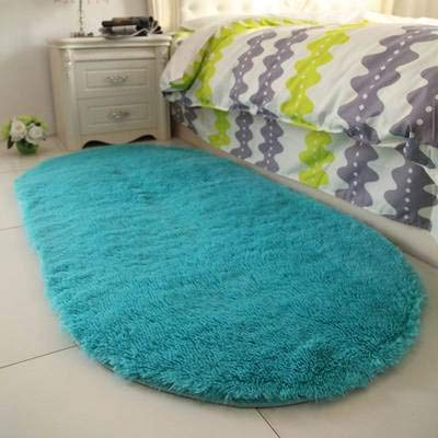 USTIDE High Pile Soft Shaggy Indoor Turquoise Blue Rug for Gilrs Room Decor Fluffy Area Rugs Kids Anti-Slip Nursery Oval Carpets, 2.6'x5.2'