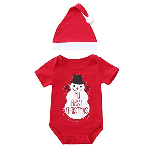 Christmas Romper Newborn Baby Boys Girls My First Christmas Snowman Printed Short Sleeve Clothes Xmas Outfits (0-6 Months, Red)