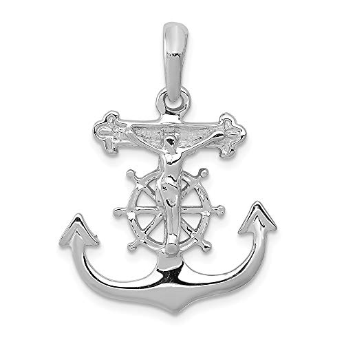 FB Jewels Solid 14K White Gold Mariner'S Cross -
