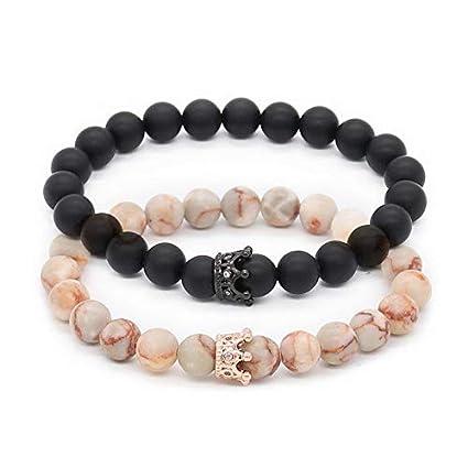 8bf5ecba4a4e Amazon.com  Mikash New Couple His and Hers Distance Bracelets White ...