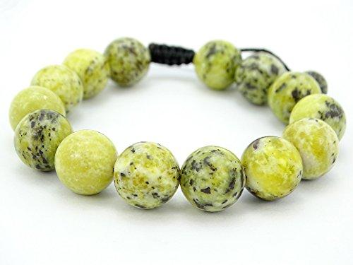(jennysun2010 Handmade 12mm Adjustable Mixed Natural Yellow Turquoise Gemstone Round Beads Bracelet Healing Reiki Chakra 1 Piece 4.5