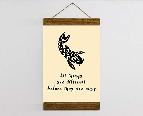 Koy Fish, Motivational Wise Chinese Proverb, Gold Fish Charm, Wise Quote, Wise Proverb, Wise Man Housewarming Gift, Framed Canvas Print B189s