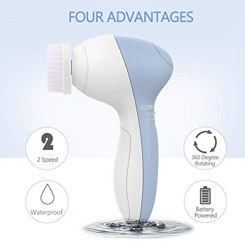 Facial Cleansing Brush [Newest], PIXNOR Waterproof Face Spin Brush with 7 Brush Heads for Deep Cleansing, Gentle Exfoliating, Removing Blackhead, Massaging 5