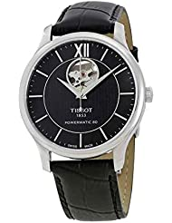 Tissot Men's Tradition Powermatic 80 Open Heart - T0639071605800 Black/Black One Size