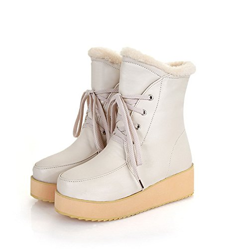 Short Kitten Boots Closed Solid White Toe AmoonyFashion M B US Platform Plush Heels Girls Round with 5 PU q0wBCHI