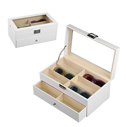 Sunglasses Display Case 12 Pieces Sunglasses Storage Case with Folding Lid, for Watches, Eyeglass, Cufflinks, Rings And Small Accessories(White) from LRRJJ