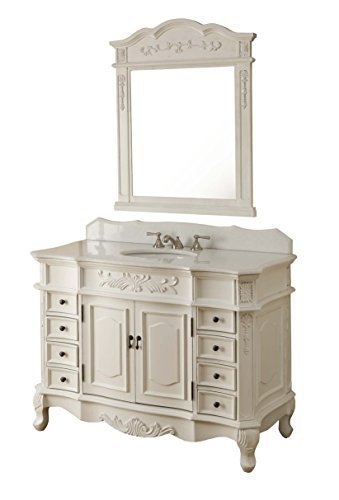 "48"" Traditional Style Antique White Morton Bathroom sink vanity w/matching mirror – HF-2815W-AW-48 Review"
