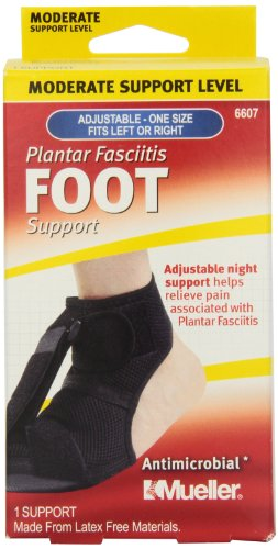 Mueller Sports Medicine Adjustable Plantar Fasciitis Foot Night Support, Black, Women's Size 6-13, Men's Size 5 - 12