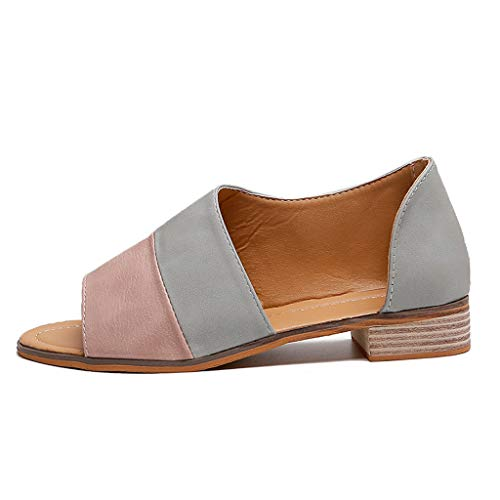 - Women Low Heel Chunky Flat Shoes Ankle Strap Slip On Open Toe Hollow Out Sandals (US:7, Pink)