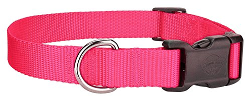 Scott - Adjustable Hot Pink Rib Nylon Dog Collar - Size: Large 12