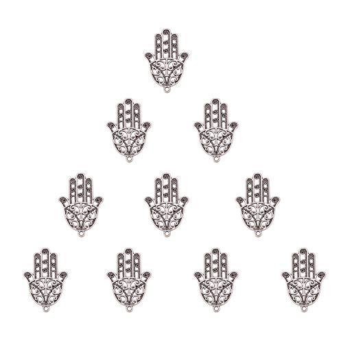 Jewelry Silver Charm Pendant Boxes (SUNNYCLUE 1 Box 10pcs Thai Sterling Silver Plated Alloy Hamsa Hand of Fatima Charms Pendants Connector 34.5x24mm for DIY Crafting Bracelet Necklace Jewelry Making Findings Accessories, Matte Silver)