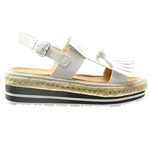Angkorly Damen Schuhe Sandalen Espadrilles - Plateauschuhe - Fransen - Knoten - Patent Keilabsatz 5 cm Weiß
