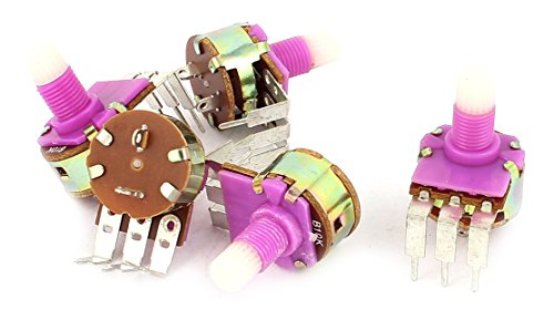 Uxcell a15061800ux0421 5 Piece B10K 10K Ohm 6 mm Knurled Split Shaft Rotary Switch Carbon Potentiometers (Rotary Potentiometer)