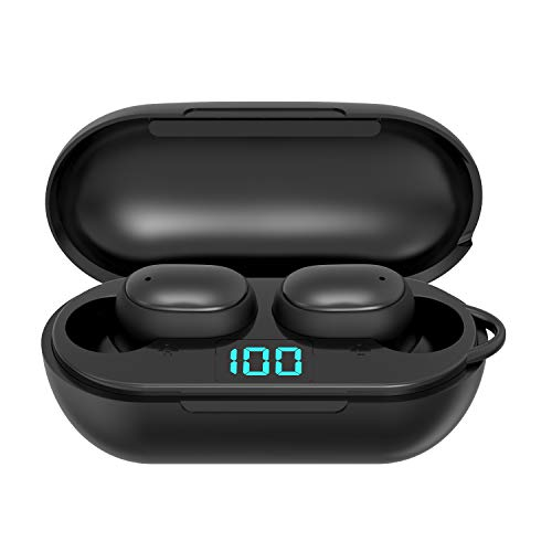 Knpaimly True Wireless Earbuds Bluetooth 5.0 Headset with Charging Case, One-Step Pairing with Touch-Control Operation/Built-in Microphones/IPX5 Sweatproof/for Sports,Workout,Gym