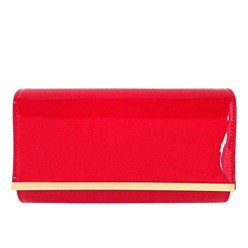 (JNB Faux Patent Leather Glossy Candy Clutch )