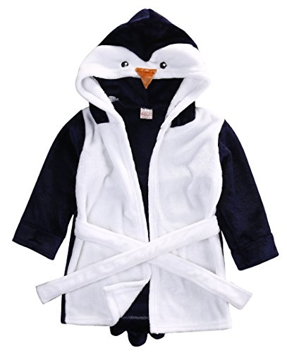 Baby Cartoon Animal Style Bath Robes Toddler Unisex Kids Hooded Tower Pajamas (6-12 Months, Blue Penguin)