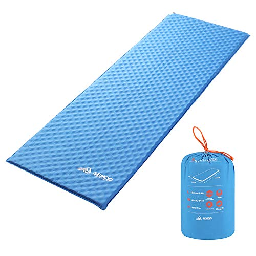 SEMOO Self-Inflating Camping Sleeping Pads, Lightweight Water Repellent Coating Mat for Hiking (Blue Without Pillow)