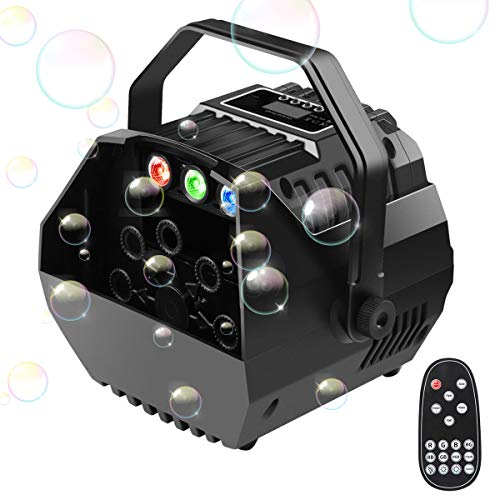 2019 New Portable Bubble Machine for Kids Party Automatic Easife Bubble Maker Bubble Blower with LED Lights&Operation Panel Wireless Remote Control Powered by Plug-in or Batteries Outdoor/Indoor Use