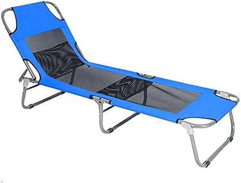 折りたたみベッド キャンプベッド旅行アウトドアキャンプシングルキャンプポータブル軽量ベッド折りたたみ リクライニングベッド (色 : 青, サイズ : 190*58*31cm)