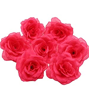 Silk Flowers Wholesale 100 Artificial Silk Rose Heads Bulk Flowers 10cm For Flower Wall Kissing Balls Wedding Supplies (Fuschia) 103