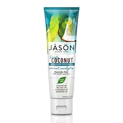JASON Simply Coconut Refreshing Toothpaste, Coconut Eucalyptus, 4.2 Ounce Tube (Toothpaste Free Gluten Jasons)