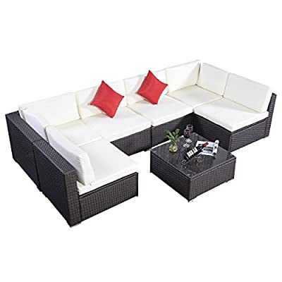 Giantex Outdoor Patio 7PC Furniture Sectional PE Wicker Rattan Sofa Set Deck Couch Brown