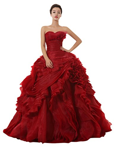 Organza Red Sweetheart Wine Ball Gown Dresses Wedding Emily Layers Beauty qCnw1g5