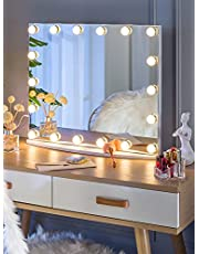 LUXFURNI Hollywood Tabletop Makeup Mirror w/USB-Powered Dimmable Light, Touch Control, Cold/Warm Light