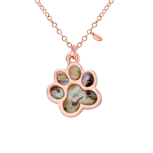 SENFAI Abalone Paua Shell Paw Charm Pendant Necklace Couple Perfect Gift and Souvenir (Rose (Paua Shell Round Pendant)