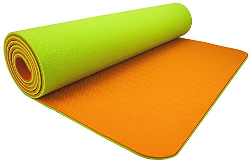 Wacces 72 X 24 x 1/4 - Inch Non-Slip Dual Reversible Yoga Mat - Orange - Green