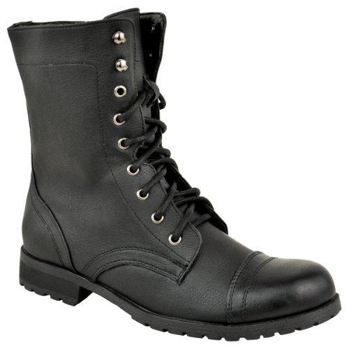 Mujer Militar Motero Cordones Sintética Talla Gabardina Punk Fashion Combate Gótico Piel Negro Thirsty Estilo Botines 5Rnfq4
