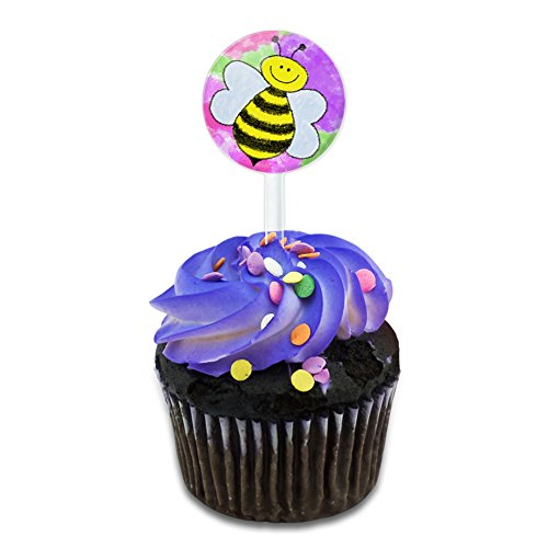 Busy As A Bee Watercolor Cake Cupcake Toppers Picks Set