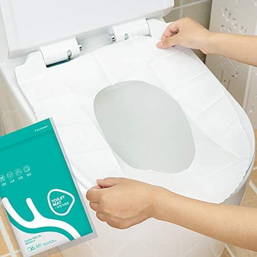 6つの使い捨てトイレパッド、ホームトラベルトイレステッカー、防水性と抗菌性、衛生および環境保護