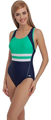 Merry Style Womens Swimsuit MS70, Medium, Navy/Mint