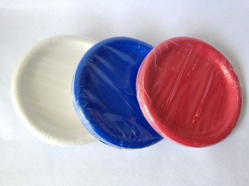 Red White and Blue Paper Party Plates 7'' 72 Count