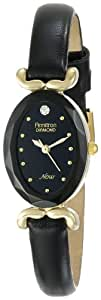 Armitron Women's 75/3248BKBK Diamond Accented Dial Gold-Tone and Black Leather Watch