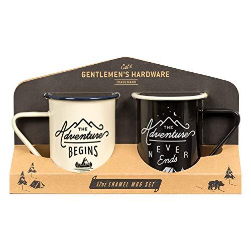 Gentlemen's Hardware Enamel Camping Coffee Mugs, Set of 2, Cream (Mugs Of Set 2 Coffee)
