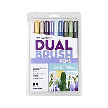 Blendable Tombow 56169 Dual Brush Pen Art Markers Landscape Brush and Fine Tip Markers 10-Pack
