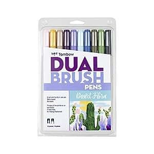 Tombow 56197 Dual Brush Pen Art Markers, Desert Flora, 10-Pack. Blendable, Brush and Fine Tip Markers