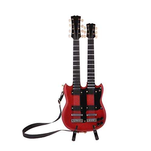 Prettyia 1/6 Scale Miniature Musical Instrument Stylish Electric Guitar Double Deck Model with Display Stand Decoration Crafts Red (Best Double Neck Guitar)