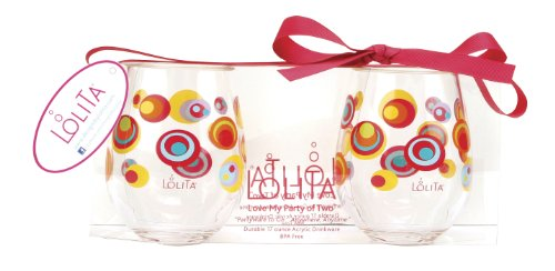 C.R. Gibson 16-Ounce Stemless Acrylic Wine Glasses, By Lolita, Set of 2, BPA Free, Measures 3.5