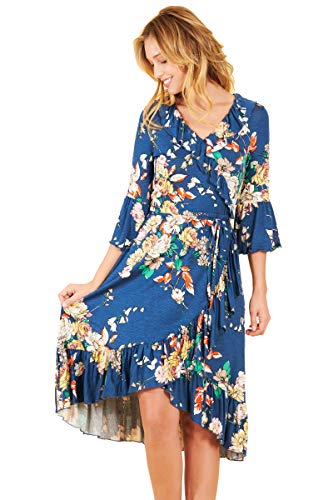 Truly Me, Women's Floral Faux Wrap Knit Dress (Blue-Floral, M)