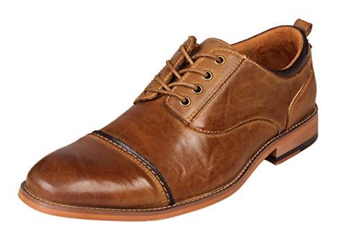 Kunsto Men's Leather Cap Toe Dress Shoes US Size 12 Brown