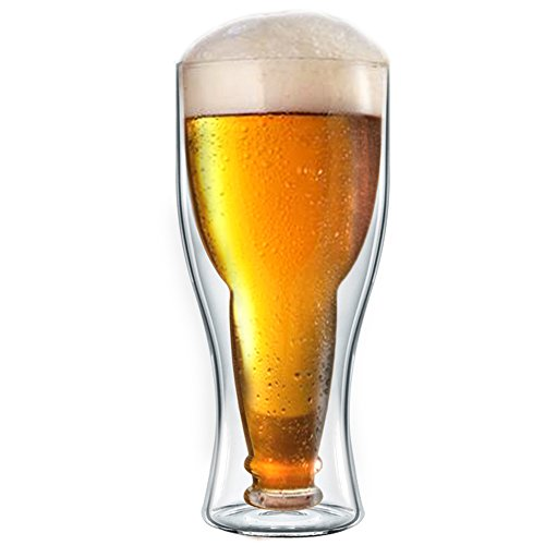 Double Wall Beer Glasses - Great For Coffee, wine , beer, whiskey, Or Any Hot Or Cold Drinks (Beer Glass Cold)