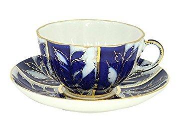 Lomonosov Porcelain Tea Cup and Saucer Set Winter Night 2pc