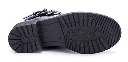 Schuhtempel24 Damen Schuhe Boots Stiefel Stiefeletten Blockabsatz Schnalle/Nieten 4 cm Schwarz