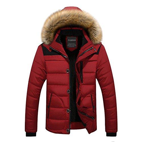 [해외]현대 판타지 망 파 카 코트 두껍게 코 튼 따뜻한 패딩 재킷 가짜 모피 후드 트림 / Modern Fantasy Mens Parka Coat Thicken Cotton Warm Puffer Jacket with Faux-Fur Hood Trim