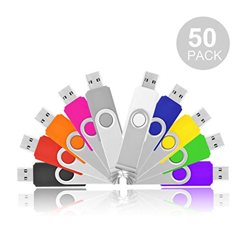 (Flash Drive 1GB, HKUU 50Pcs USB 2.0 Memory Sticks Thumb Drives Swivel Keychain Design (Black/Grey/White/Yellow/Orange/Pink/Red/Green/Blue/Purple))