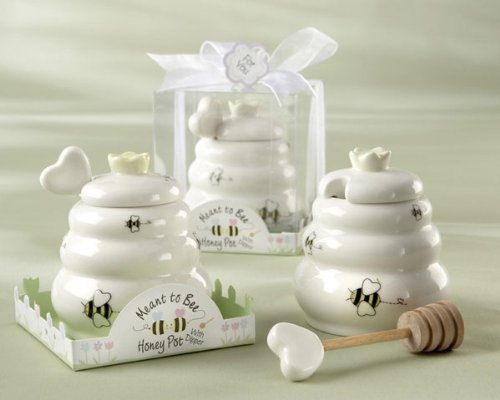"""Meant to Bee"" Ceramic Honey Pot with Wooden Dipper - Baby Shower Gifts & Wedding Favors (Set of 24)"